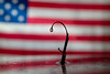 Single water drop in front of flag