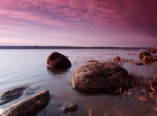 beautiful landscape with water and clouds before  the rain. Large depth of field with hyperfocal.