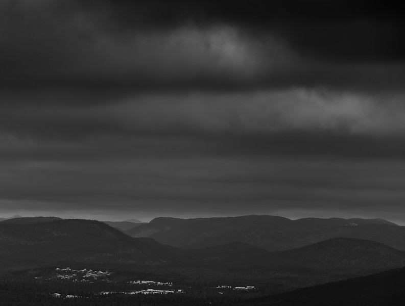 Appalachian mountain view from North america Quebec Canada. Black and white low key photography.