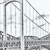 High key black and white photography of a suspension bridge from Quebec, Canada.
