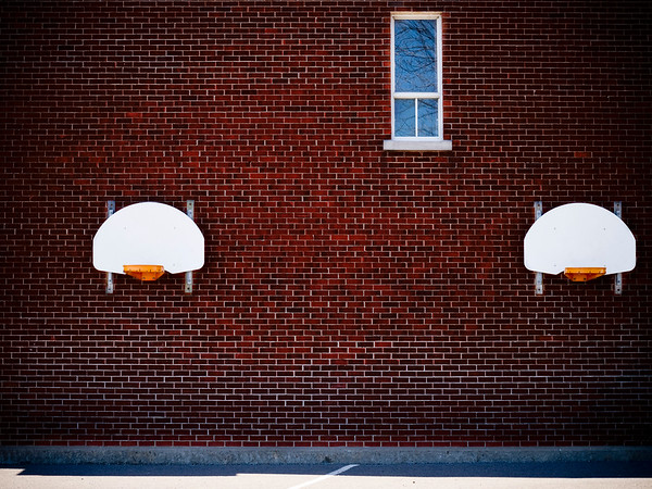 two basketball ring at a school