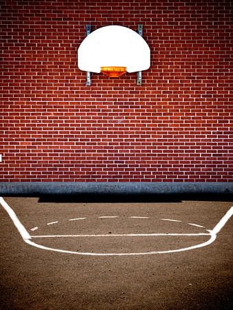 empty basketball court from a school