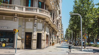 Diagonal Lateral Street Classic Pedestrian Tree Monument July Classic Bcn-24