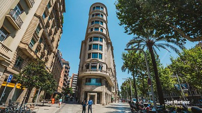 Diagonal Lateral Street Classic Pedestrian Tree Monument July Classic Bcn-39