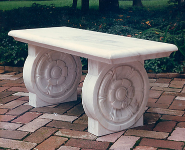 Marble bench with round rosettes