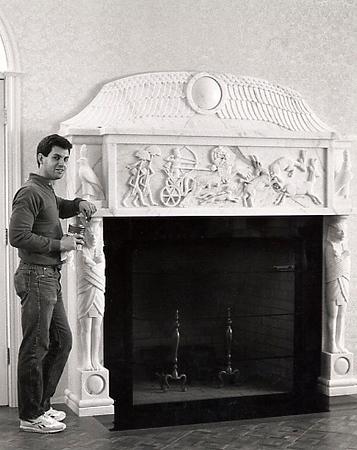 Doug with Finished Egyptian Fireplace