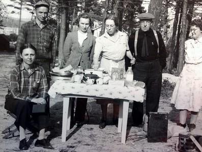 left to right: Joanna Stone (seated), Charles Stone, Wilma Stone, Ida Stone, Frank Stone, friend, 1946