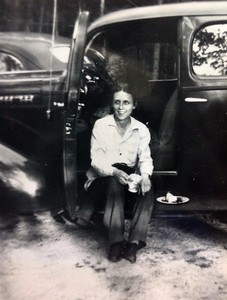 Joanna Stone Benjamin with her 1938 Chevy, 1947