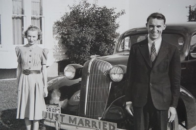 Wilma and Charles Stone on their wedding day, 1940