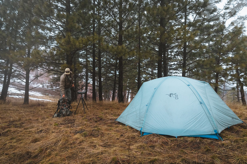 Sam Averett (samaverett) returning to camp with a match set of muley sheds while shed hunting in Oregon.