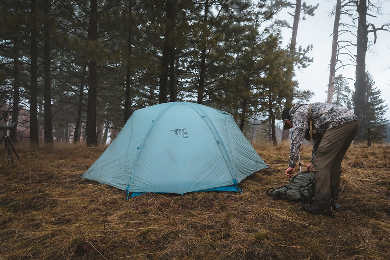 Casey Barton (_caseybarton_) returning to camp while shed hunting in Oregon.