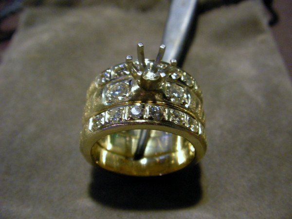 The completed wedding set without the center stone set yet.