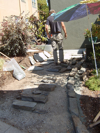 Stone front path