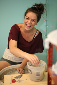 Laura Brees in the Stoneware Alchemy Clay Studio at 163 Albany Turnpike, Suite 300 in Canton.  Photo by John Fitts