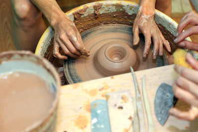 Laura Brees has opened Stoneware Alchemy Clay Studio at 163 Albany Turnpike, Suite 300 in Canton, CT. Here Emily Brooks works on a piece with some guidance by Brees.  Photo by John Fitts