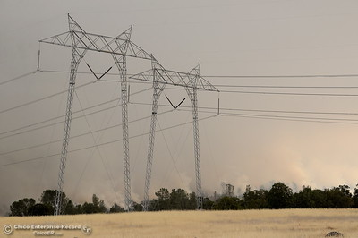 PG&E PIO spokesman Paul Moreno said power is out to 228 customers but the 500-kilovolt power lines are not threatened as the Stoney Fire burns in Upper Bidwell Park near Chico, Calif. Friday July 13, 2018.  (Bill Husa -- Enterprise-Record)