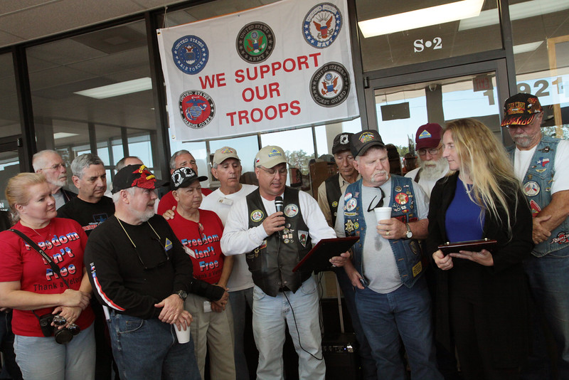 On behalf of the Southeast Texas Patriot Guard Riders, Bobby Stroka spoke to local  veterans meeting at Storage 105 on Wednesday during a presentation honoring Constable Gene Deforest, and Captain Mike White of the Montgomery County Constables Pct. 2 Office.  Constable Deforest and Captain White were being honored for their continued support and service to our military, their families, and Patriot Guard Riders. Constable Deforest and Captain White were presented with a plaque of appreciation by the Southeast Texas Patriot Guard Riders