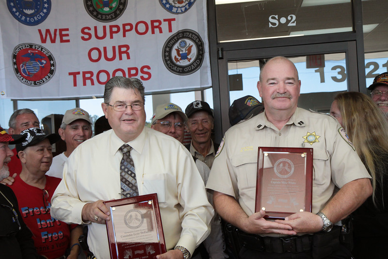 Constable Gene Deforest, and Captain Mike White of the Montgomery County Constables Pct. 2 Office.  Constable Deforest and Captain White were being honored for their continued support and service to our military, their families, and Patriot Guard Riders. Constable Deforest and Captain White were presented with a plaque of appreciation by the Southeast Texas Patriot Guard Riders