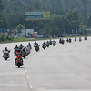 Patriot Guard riders lead the way.