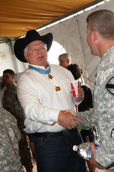Houston Livestock Show and Rodeo Armed Forces Appreciation Day. Medal of Honor recipient Mike Thornton greats service members.