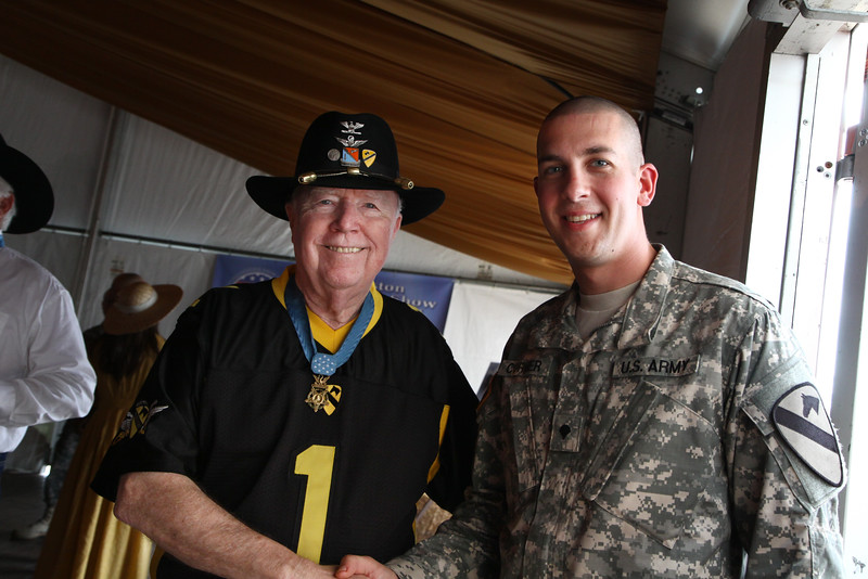 Houston Livestock Show and Rodeo Armed Forces Appreciation Day. Medal of Honor recipient Bruce Crandall greats service members.