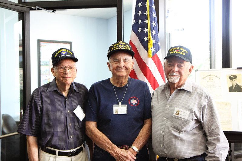 """Herbert """"Kick"""", OS, and RB have known each other since their school days. All three men served in WWII."""