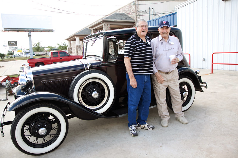 Jim and Warren. Veterans and friends enjoyed a trip down memory lane while viewing a Model A Ford.  Model A courtesy of Jerry Kent from the Pinewood Model A club.
