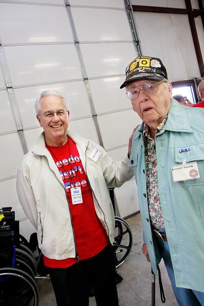 Military supporter Spencer Knapp, WWII veteran Joseph Smith.