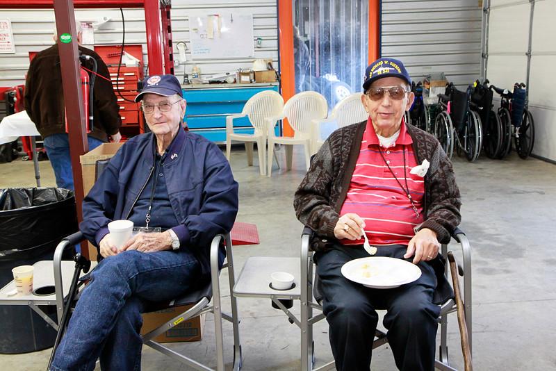 Monthly veteran breakfast provided by Vernon's Kuntry Katfish. WWII veterans Pete Daugherty, Bob Bray