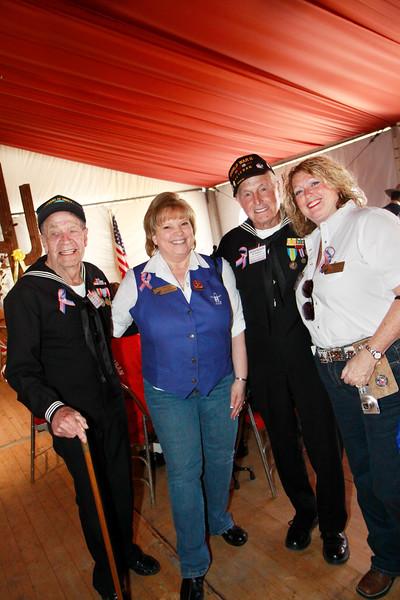 WWII veteran John Laws, event organizer Pam Chavez, WWII veteran Ike Hargraves, and event organizer Debbie Barrera.
