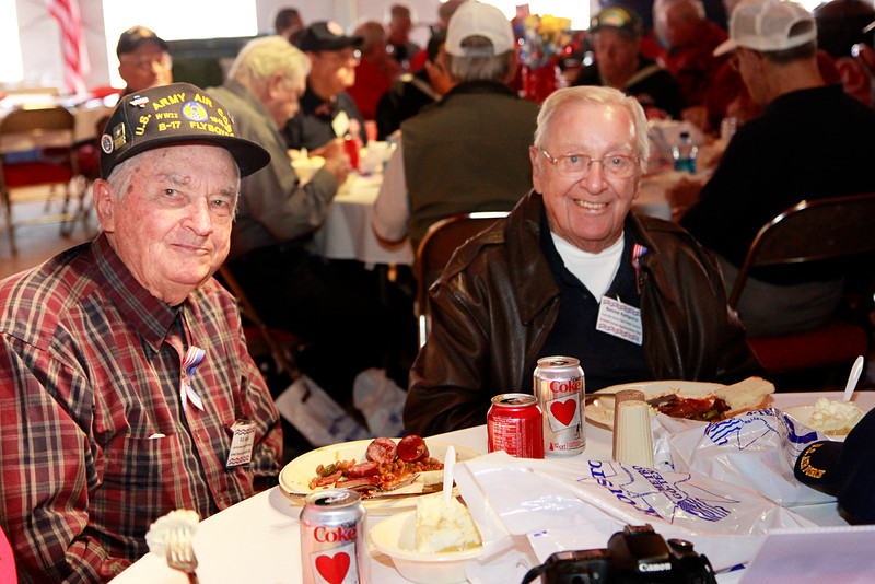 WWII veterans R.B. Kelly and Renard Kampstra. Renard was a B-17 crew member who became a prisoner of war for 11 months.