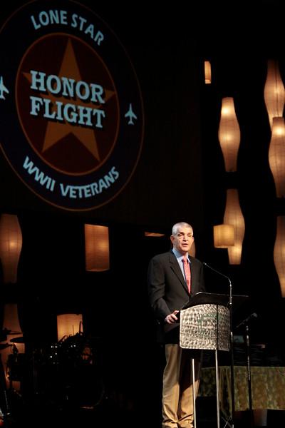 Jim McIngvale, owner of Gallery Furniture speaks to the WWII veterans.<br /> <br /> Septembr 11, 2010. Lonestar Honor Flight showing of flight's 4 & 5.
