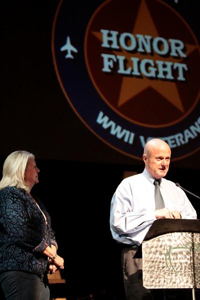Organizers Brenda Beaven and Jack McClanahan.<br /> <br /> Septembr 11, 2010. Lonestar Honor Flight showing of flight's 4 & 5.