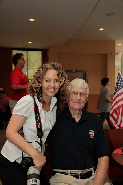 Photographer Karie, with WWII veteran and POW Stan Bruin.<br /> <br /> Septembr 11, 2010. Lonestar Honor Flight showing of flight's 4 & 5.