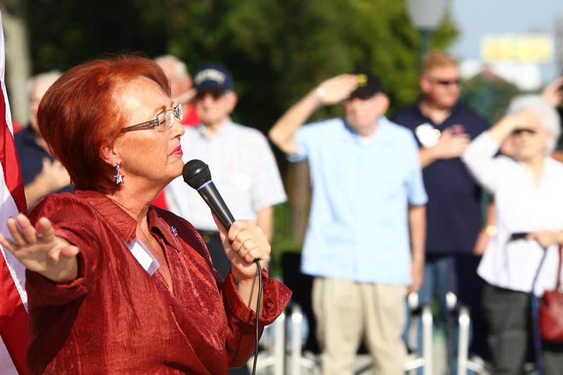 Flag raised in honor of WWII veteran Wayne Wood.
