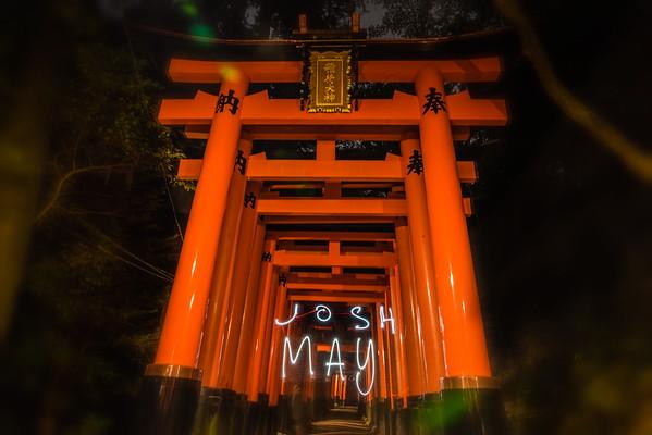 Torii Tunnel Light Painting