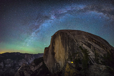 Tent Beneath Half Dome and Milky Way - Yosemite National Park, CA