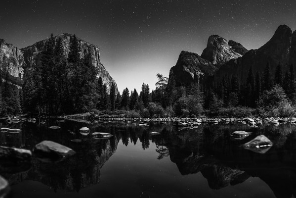 Yosemite Valley Night Sky Reflection in Merced River - Yosemite National Park, CA