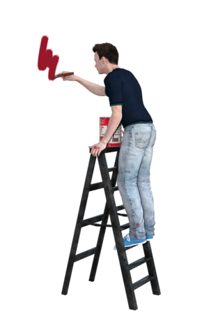 Painting on Ladder