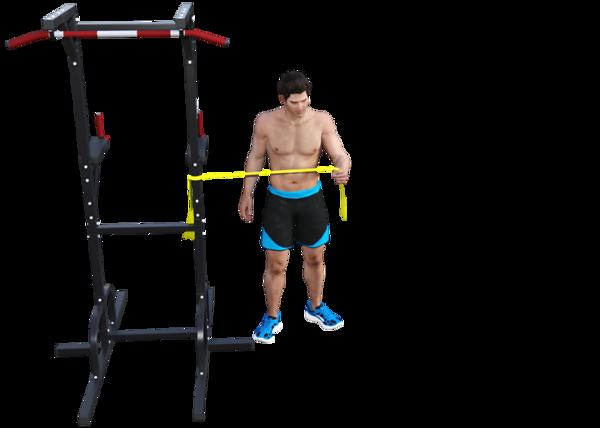 Shoulder External Rotation with Band, Opposite Leg External Rotation (start)