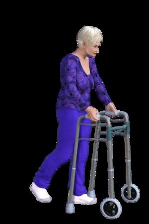 Push that wheeled walker forward