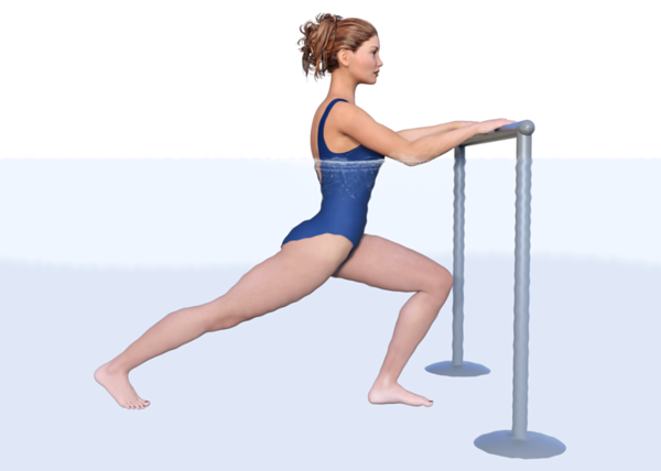Stretching the right hip flexor in the pool