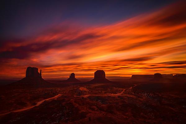Long Exposure Sunrise, Monument Valley Navajo Tribal Park, Arizona