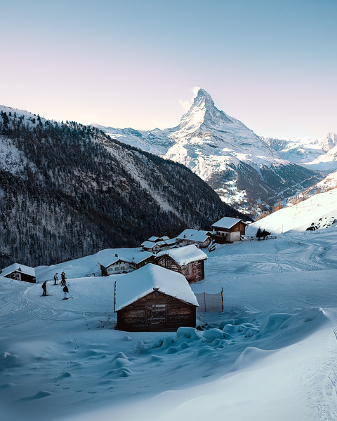 The village of Findeln, surrounded by ski tracks and overlooked by the mighty Zermatt Matterhorn.<br /> <br /> Valais, Switzerland