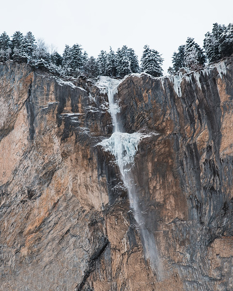The Staubbach waterfall, diving from a rocky terrace in the Jungfrau valely.<br /> <br /> Bernese, Switzerland