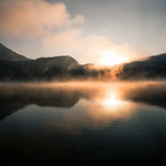 A bonfire of fog at Lake Barrea, Abruzzo, Italy
