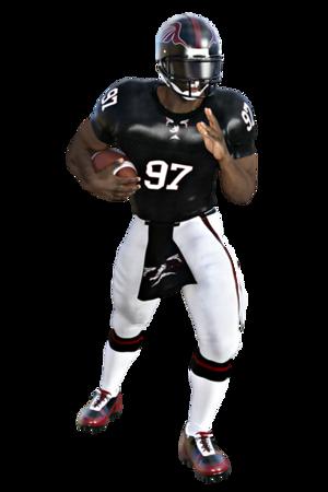 Football player defending ball