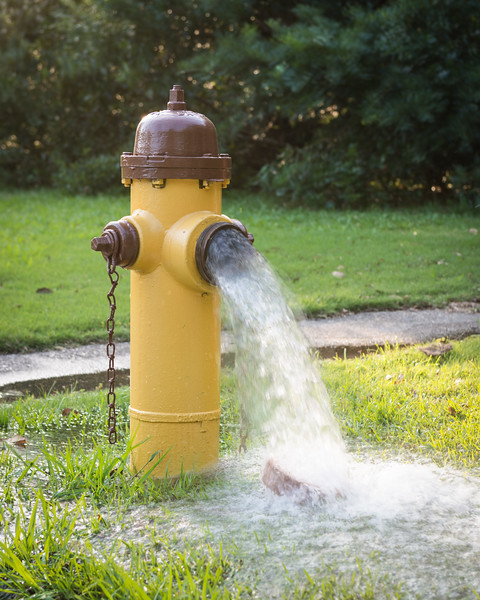 Flowing Fire Hydrant