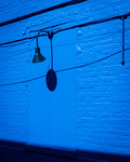 Blue Brick Wall with Light