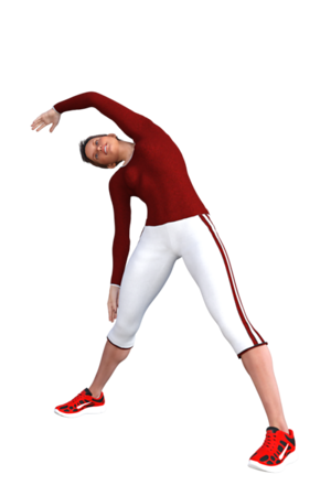 Stretching the side of the trunk and shoulder, paticularly the 'lats' (latissimus dorsi), the side of the chest and ribcage.